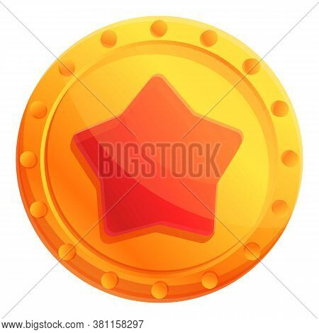 Video Game Star Bonus Icon. Cartoon Of Video Game Star Bonus Vector Icon For Web Design Isolated On