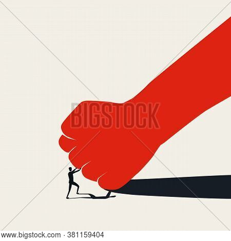 David Vs Goliath Business Concept With Small Man Fighting Big Fist. Standing Up To Bullies And Oppre