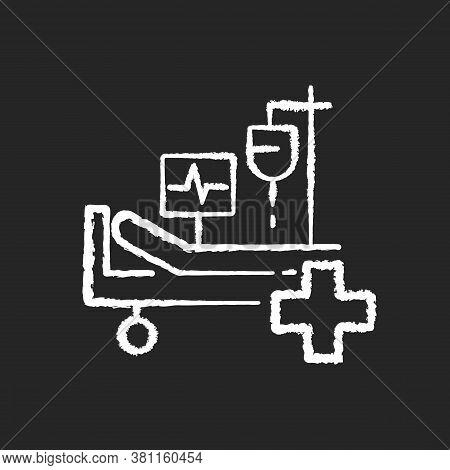 Intensive Care Chalk White Icon On Black Background. Critical Care Medicine. Icu. Hospital Ward. Int