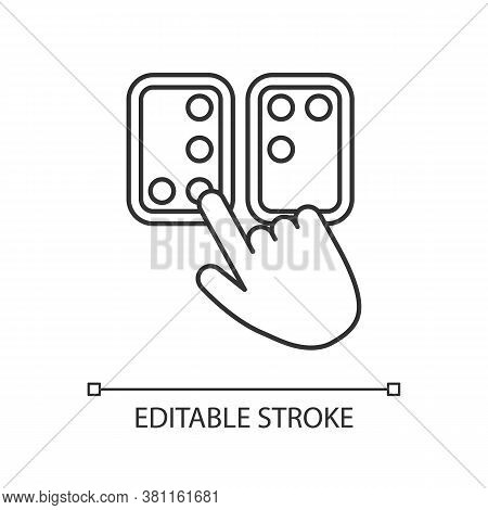 Braille Directions Linear Icon. Tactile Reading System For Blind Persons. Braille Code. Blindness. T