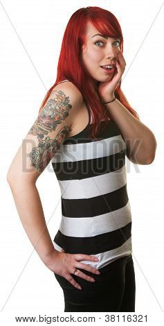 Surprised cute young woman with red hair and striped shirt poster