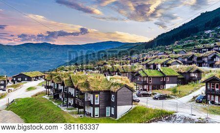 Myrkdalen, Hordaland, Norway, Scandinavia - July 28, 2019: Typical Traditional Norwegian Houses With