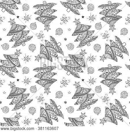 Christmas Tree, Balls, Stars Hand Drawn Coloring Book Seamless Rare Pattern. Black Ornamental Christ