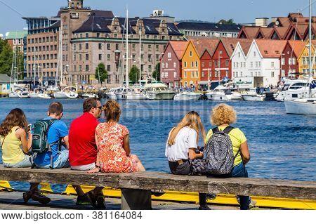 Bergen, Norway, Scandinavia - July 30, 2019: Tourist Resting In The Port Of Bergen Enjoying The View