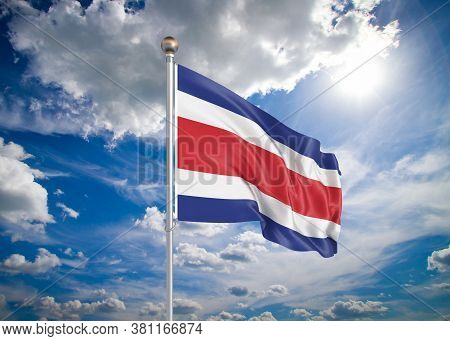 Realistic Flag. 3d Illustration. Colored Waving Flag Of Costa Rica On Sunny Blue Sky Background.