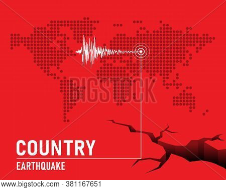 Earthquake Concept With Frequency Seismograph Waves  , Cracked And Dot Map World On Red Background V