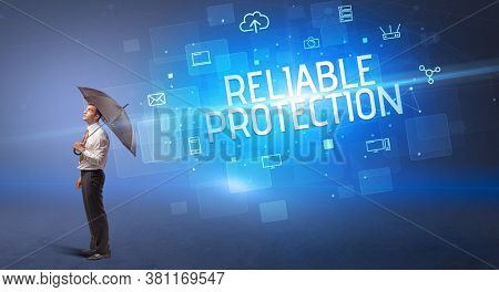 Businessman defending with umbrella from cyber attack and RELIABLE PROTECTION inscription, online security concept