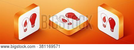 Isometric Classic Lamp And Light Bulb With Leaf Inside Icon Isolated On Orange Background. Lighting