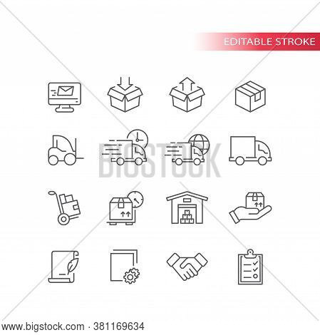 Fulfilment Thin Line Icons. Delivery Service Icon Set. Truck, Warehouse, Storage And Box Or Parcel P