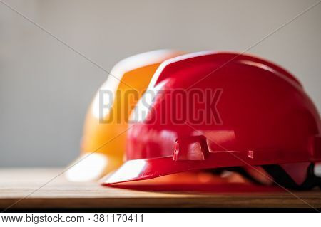 Safety Construction Worker Hats Teamwork Of The Construction Team