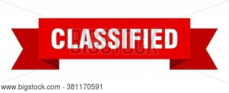 Classified Ribbon. Classified Isolated Sign. Isolated Banner