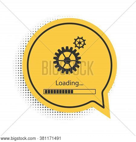 Black Loading And Gear Icon Isolated On White Background. Progress Bar Icon. System Software Update.