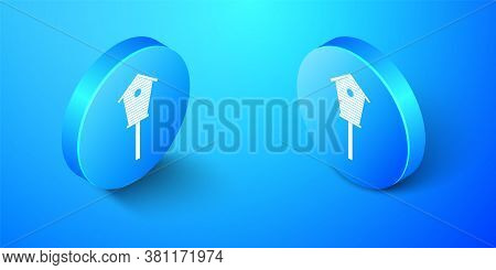 Isometric Bird House Icon Isolated On Blue Background. Nesting Box Birdhouse, Homemade Building For