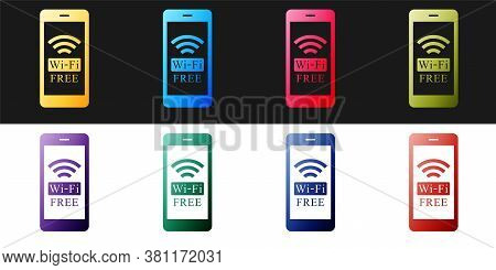 Set Smartphone With Free Wi-fi Wireless Connection Icon Isolated On Black And White Background. Wire