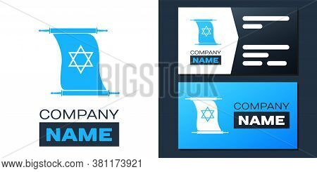 Logotype Torah Scroll Icon Isolated On White Background. Jewish Torah In Expanded Form. Torah Book.