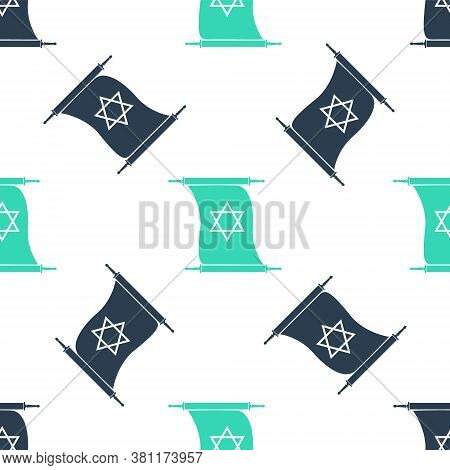 Green Torah Scroll Icon Isolated Seamless Pattern On White Background. Jewish Torah In Expanded Form