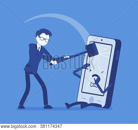 Smartphone Destruction By Angry Aggressive Man With Big Hammer Weapon. Depressed Boy Smashing Mobile