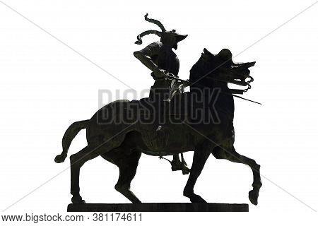 Equestrian Statue Of Francisco Pizarro. Silhouette Shot