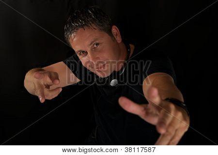 DJ Making Action Pose