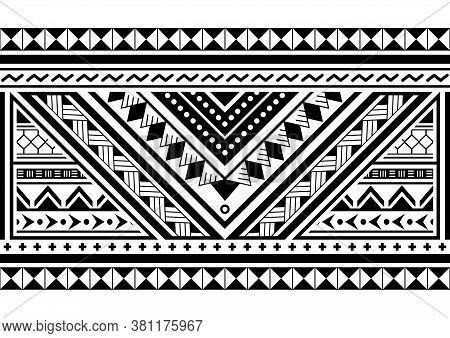 Polynesian Ethnic Seamless Vector Long Horizontal Pattern, Hawaiian Black And White Design Inspired