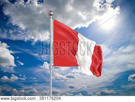 Realistic Flag. 3d Illustration. Colored Waving Flag Of Peru On Sunny Blue Sky Background.
