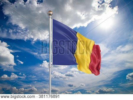Realistic Flag. 3d Illustration. Colored Waving Flag Of Romania On Sunny Blue Sky Background.