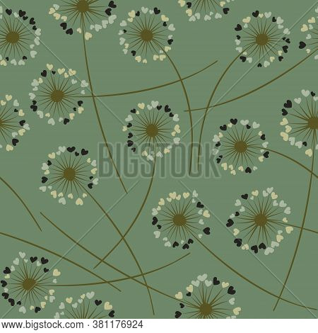 Cute Dandelion Blowing Vector Floral Seamless Pattern. Cute Flowers With Heart Shaped Fluff Flying.