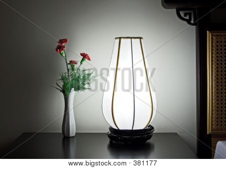 Bedside Carnation And Lamp