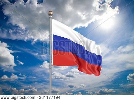 Realistic Flag. 3d Illustration. Colored Waving Flag Of Russia On Sunny Blue Sky Background.