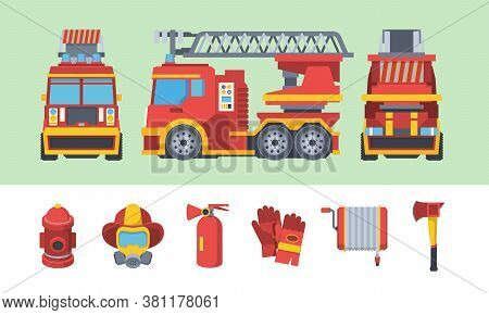 Fireman Set. Special Fire Fighting Vehicle Fleet Outdoor Water Column Mask With Respirator Protectiv