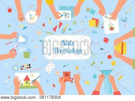 Handmade Kids Workshop Creative Illustration. Developing Hobby For Children Active Handicraft As Fun