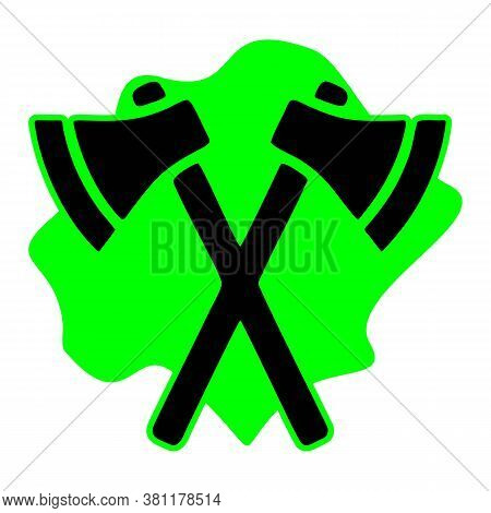 Axes Glyph Icon, Weapon And Hatchet, Crossed Axes Sign, Vector Graphics, A Solid Pattern On A White