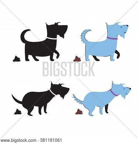 Set Of Dog Pooping And Its Poo Vector Icons. Pile Of Canine Shit