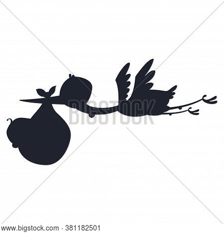 Silhouette Cartoon Stork And Baby. Vector Illustration Of A Flying Bird Carrying A Newborn Kid Isola