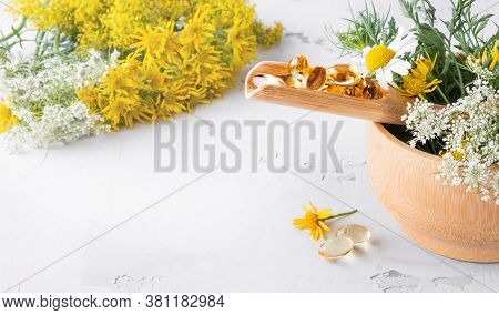 Alternative Medicine, Naturopathy And Dietary Supplement. Herbal Remedy And Plants. Side View, Copy
