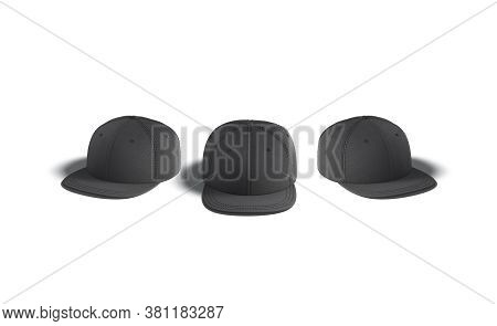 Blank Black Jeans Snapback Mock Up, Front And Side View, 3d Rendering. Empty Denim Head Wear For Hip