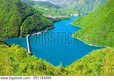 Lake Piva Or Pivsko Jezero Is A Reservoir Near Pluzine Town In Durmitor National Park In Montenegro