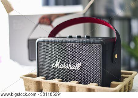 Bangkok Thailand August 14 , 2020: Marshall Kilburn 2 Bluetooth Speaker Is One Of Leading Worldwide