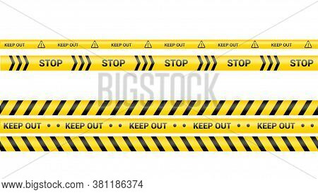 Police Tape, Crime Danger Line. Caution Police Lines Isolated. Warning Keep Out Tapes. Set Of Yellow