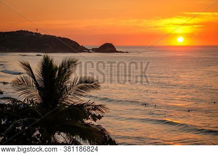 Calm Sunset Scene Of Zipolite Beach In Southern Mexico