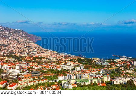 Funchal City Aerial Panoramic View. Funchal Is The Capital And Largest City Of Madeira Island In Por