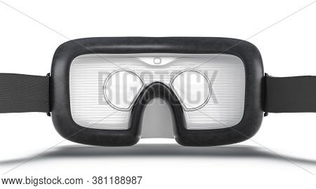 Blank White Virtual Reality Goggles Mock Up, Back View, 3d Rendering. Empty Simulation Lens Inside M