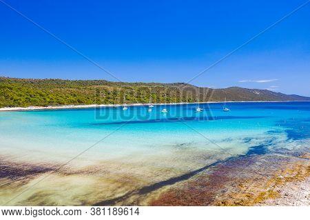 Amazing Adriatic Sea In Croatia. Aerial View Of Azure Turquoise Lagoon On Sakarun Beach On Dugi Otok