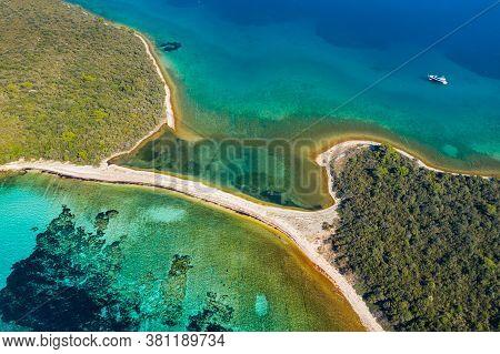 Amazing Sand Beaches, Natural Bridge In Turquoise Sea On The Island Of Dugi Otok In Croatia, Drone A