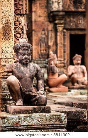 Yaksha Guardian at Banteay Srei temple in Cambodia