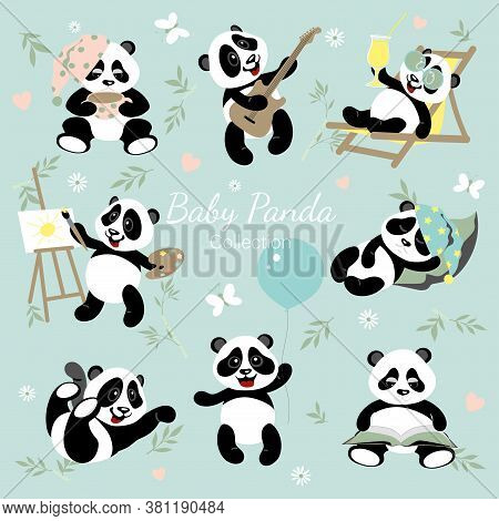 Baby Panda Collection. Little Pandas Have Fun, Draw, Read, Play.the Illustrations Are Decorated With