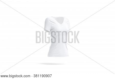 Blank White Women V-neck T-shirt Mockup, Side View, 3d Rendering. Empty Football Or Fitness Slim Clo