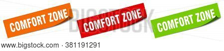 Comfort Zone Sticker. Comfort Zone Square Isolated Sign. Label