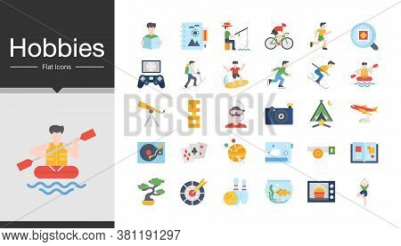 Hobbies Icons. Flat Design. Icon Set Of The Most Activities Of People In Holiday Or Summer. For Pres