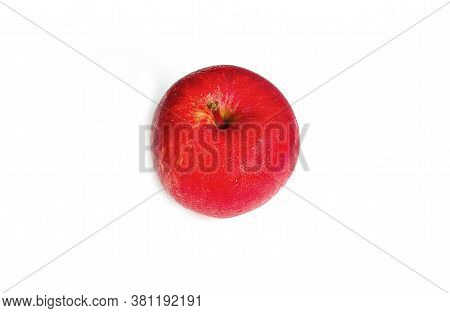 Ripe Red Apple Top View Isolated On A White Background